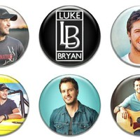 Set of 6 New Luke Bryan Pinback Button Badge Pack Music Cd Vinyl Shirt Hat Hoodie Fan Tour Pin
