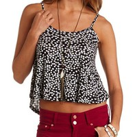PRINTED STRAPPY SWING CROP TOP