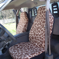 1 Set of Seat Cover and 1 Steering Wheel Cover Giraffe 2 Prints Custom Made