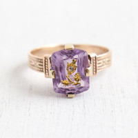 Antique 14K Rose Gold Amethyst & Diamond Flower Ring - Size 7 Victorian Rose Of Sharon Purple Gemstone Fine Jewelry