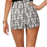 WhiteBlack Brocade Printed Shorts
