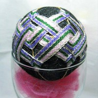 Temari Ball Ornament in Purple, Lilac, Green, Silver And Gold