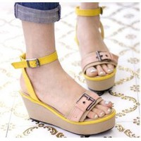 Wholesale Fashion wedges cake with female sandals CZ-0710 yellow - Lovely Fashion