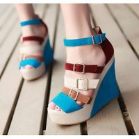 Wholesale Peep toe waterproof increased color matching wedge heel suede sandals CZ-0731 blue - Lovely Fashion