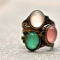 Pastel Colors Thin Stacking Rings Set Of Three Antique Brass Cabochon Rings