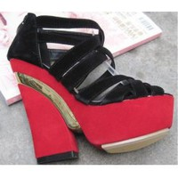 Wholesale Article metal wedges Waterproof increased sandals CZ-0555 red - Lovely Fashion