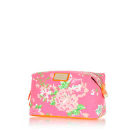 Pink floral print make up bag - make up bags / luggage - bags / purses - women