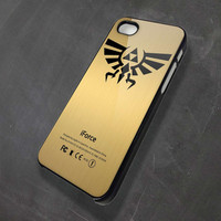 The legend of zelda triforce logo and gold texture Iphone 4/4s/5/5c/5s, Samsung Galaxy S2/S3/S4, iPod 4 (only black)