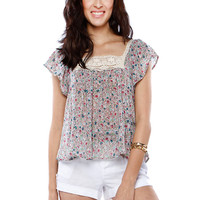 Papaya Clothing Online :: FLORAL LACY TRIMMING CHIFFON TOP