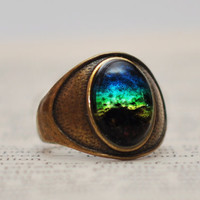 Antique Brass Rainbow Galaxy Ring Glass Dome Cabochon Ring Rainbow Ring