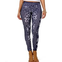 BlueWhite Bandana Print Leggings