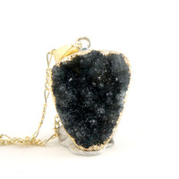 Black Coal Color Druzy Necklace - Natural Druzy Quartz Crystal - Raw Druzy Necklace OOAK - Bridesmaids Gift Idea - SDN32