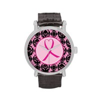 Pink Ribbon Black Damask Breast Cancer Awareness