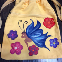 Drawstring Backpack With Hand Painted Fairy & Flowers