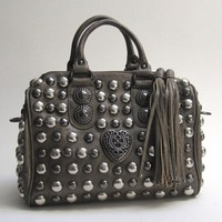 Designer Inspired Studded Grey Satchel