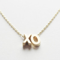 """Gold Word Necklace. Gold initial Necklace. """"Love Necklace"""". Beyonce """"XO"""" necklace. """"Happy"""" necklace"""
