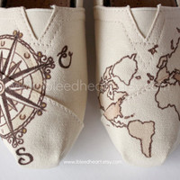 Custom Painted TOMS Shoes - Travel Compass and World Map in Brown - Adult