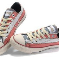 Ultimate Low Top Converse All Star America(US) Flag Red White With Grey Tongue Canvas Shoes [MD071406] - $50.00 : Best Converse USA Flag, Converse American Flag, Converse Chuck Taylor All Star Shoes Online Store!
