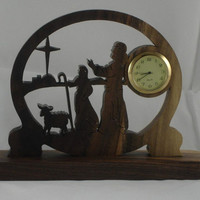 Shepard's and Star Of Bethlehem Scene Mini Desk Clock Handmade From Walnut Wood