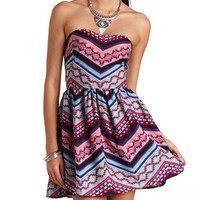 AZTEC CHEVRON STRAPLESS SKATER DRESS