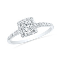 1/2 CT. T.W. Princess-Cut Diamond Frame Engagement Ring in 10K White Gold - View All Rings - Zales
