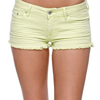 Bullhead Denim Co Low Rise Extreme Fray Hem Shorts - Womens Shorts - Neon Green -
