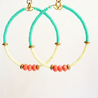 Coral and Turquoise Color Block Earrings, Beaded Hoops, Beadwork, Dangle Hoop Earrings, Boho Jewelry