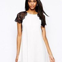 TFNC Swing Dress With Eyelash Lace Shoulders