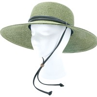 Wo's Braided Wide Hat Green