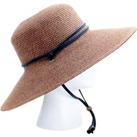 Wide Brim Braided Hat Dark Brown