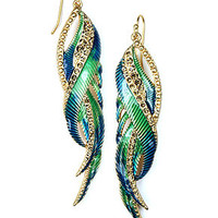 RACHEL Rachel Roy Earrings, Gold-Tone Multicolor Feather Earrings