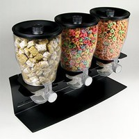 Zevro Commercial Plus Edition Portion Control Triple Dry Food Dispenser, Black/Chrome