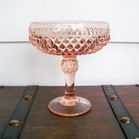 Pink Diamond Point Compote Vintage Indiana Glass by EraGlassCo
