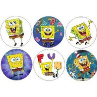 "Set of 6 SpongeBob SquarePants 1.25"" MAGNETS ~ Nickelodeon"
