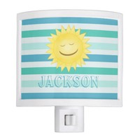 Personalized B G Stripes: Smiley Sun: Night Light