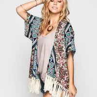 Lottie & Holly Border Print Womens Kimono Multi  In Sizes