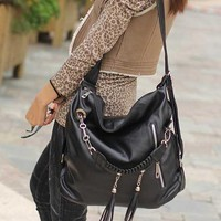 Generic Fashion Women's Hobo Bag PU Leather Handbag Shoulder Bag (Black)