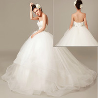White Tulle Sweetheart Wedding Masquerade Bridal Ball Gowns Dresses SKU-118158