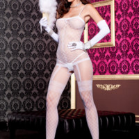 Spandex sheer bodystocking with feux all-in-one fence net garter detail 88% nylon 12% spandex
