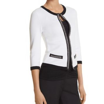 White House | Black Market Contrast Chain Cardigan
