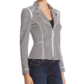 White House | Black Market Stripe Knit Moto Jacket