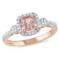 5.0mm Cushion-Cut Morganite and 1/5 CT. T.W. Diamond Ring in 10K Rose Gold - View All Rings - Zales