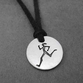 RUNNER GIRL Round Pendant Self Tie Necklace - Pewter Charm on 3 Feet of Self Tie Micro Fiber Suede - Pewter Pendant with 36 inch micro fiber suede lace cord - Choose Your Color!