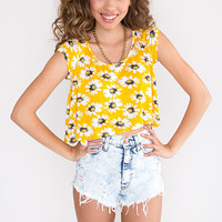 Simply a Daisy Crop Top - Yellow