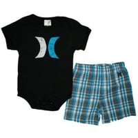 Hurley Toddler Boys 2pc Set Short Sleeve Bodysuit and Shorts, Black, Sz 18 Mos