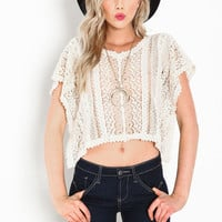 CROCHET PONCHO CROP TOP