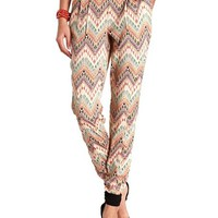 AZTEC CHEVRON PLEATED JOGGER PANTS