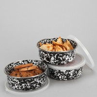 Enamel Storage Bowl - Set Of 3- Black & White One