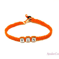 Run Hemp Bracelet, Orange Macrame Hemp Jewelry, Made to Order