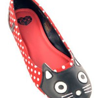 Red Polka Dot Kitty Flat